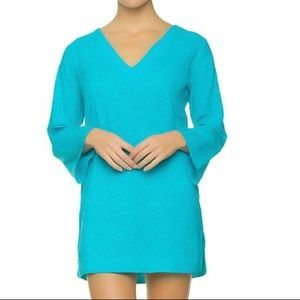 Helen Jon Embroidered V Neck Turquoise Tunic Top